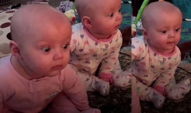 6 aylık ikizlerin ilk kez oyuncak tren gördükleri andaki sevimli şaşkınlıkları, izleyenleri hayran bırakıyor...