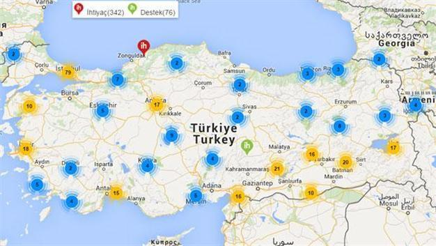 Needs Map charts schoolchildrens needs across Turkey
