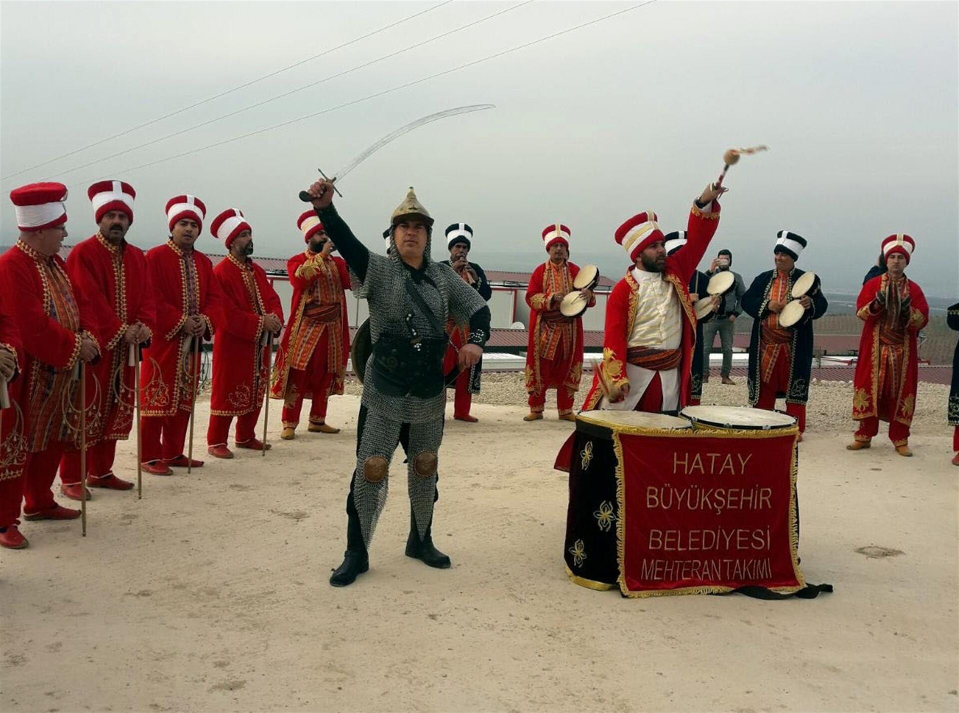 Ottoman military band performs at Turkey-Syria border
