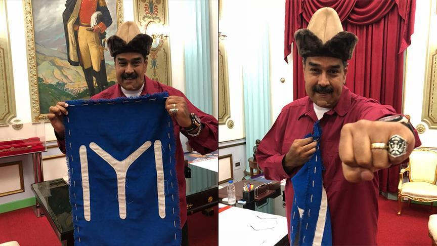 Venezuelan leader Maduro wears accessories from TV series on founder