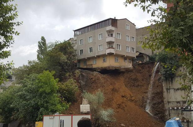Building in Istanbul collapses after landslide takes away foundation