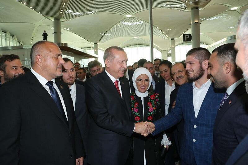 wholesale online official photos purchase cheap Erdoğan meets MMA champion Nurmagomedov at opening of ...