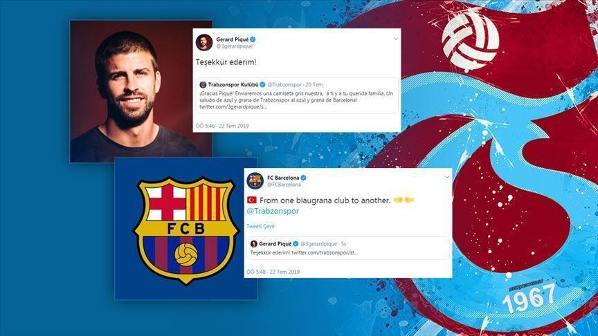 huge selection of 6a383 ce39a Barcelona's Pique hails Trabzonspor jersey ad - Turkish News