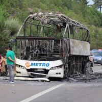 Bus with passengers on board catches fire in Turkey's northwest