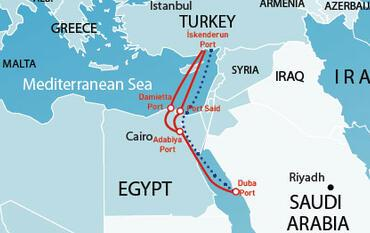 Turkish Ships Turn To Suez To Circumvent Egypt Route - Map of egypt ports