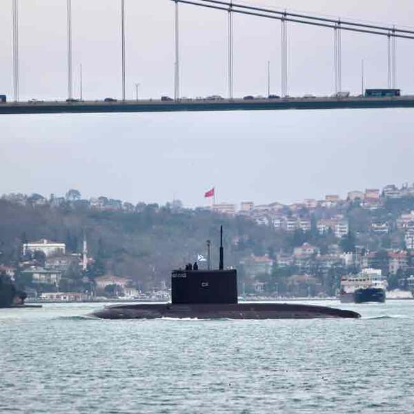 Russian submarine Krasnodar sails towards Syria via Turkey's straits