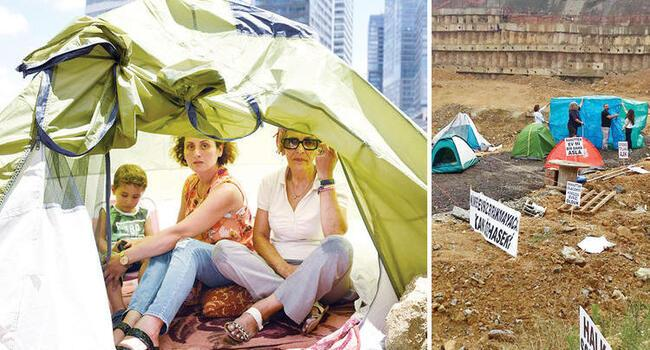 Victims of urban transformation protest still-unfinished construction in Istanbul's Fikirtepe