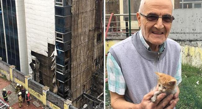 Turkish pensioner saves cats from fire by risking his life