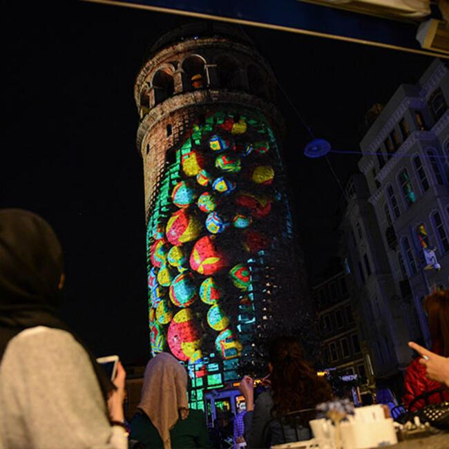 Istanbulu0027s historic Galata Tower serves as platform for video mapping show & Istanbulu0027s historic Galata Tower serves as platform for video ...