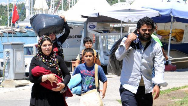 Bodrum'da parklardaki Suriyeliler
