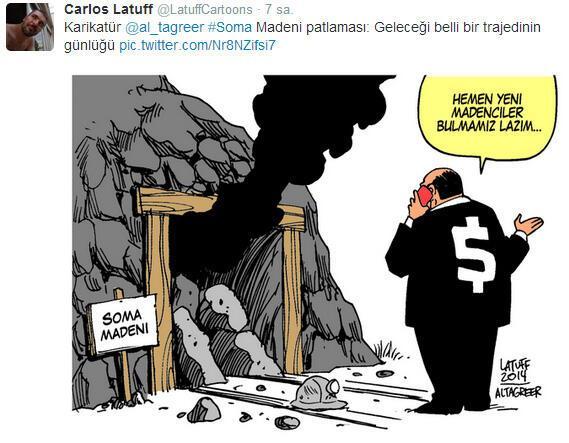 Brezilyalı karikatüristten Türkçe Soma karikatürü