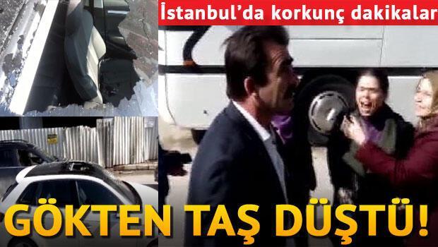 İstanbul'da otomobilin üzerine inşaattan taş düştü