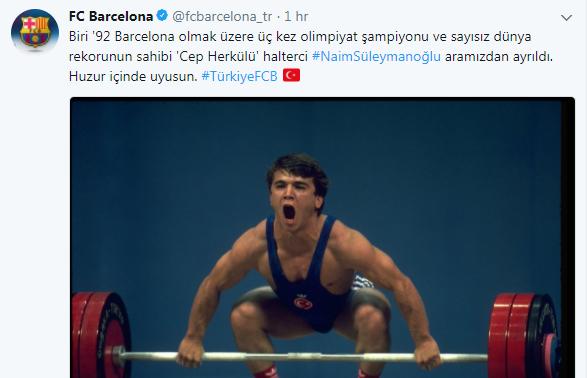 Barcelona, Naim Süleymanoğlu'nu unutmadı