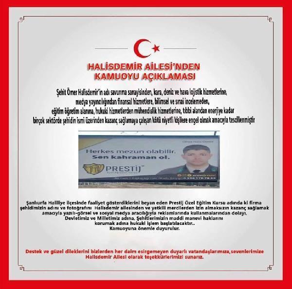 Halisdemirin ailesinden reklam afişine tepki