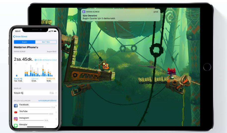 iOS 12 ile gelen 'Ekran Süresi' özelliği çocuklara rehberlik ediyor