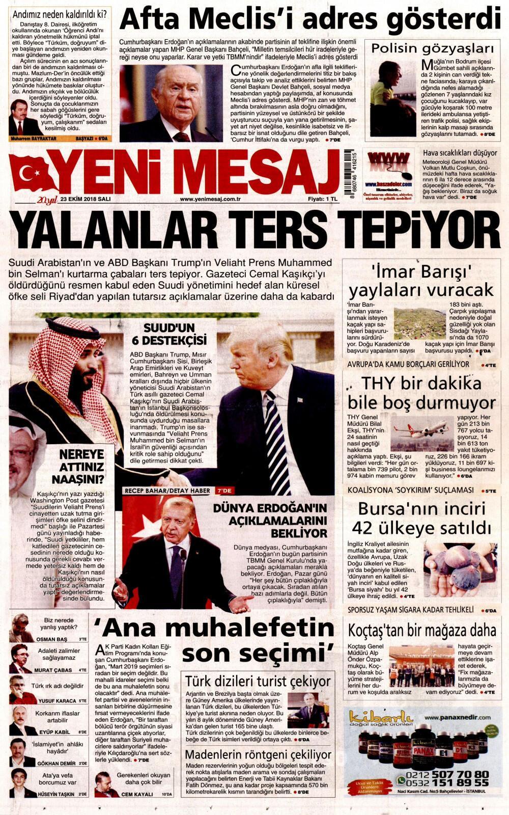 23 Ekim 2018 Gazete Manşetleri