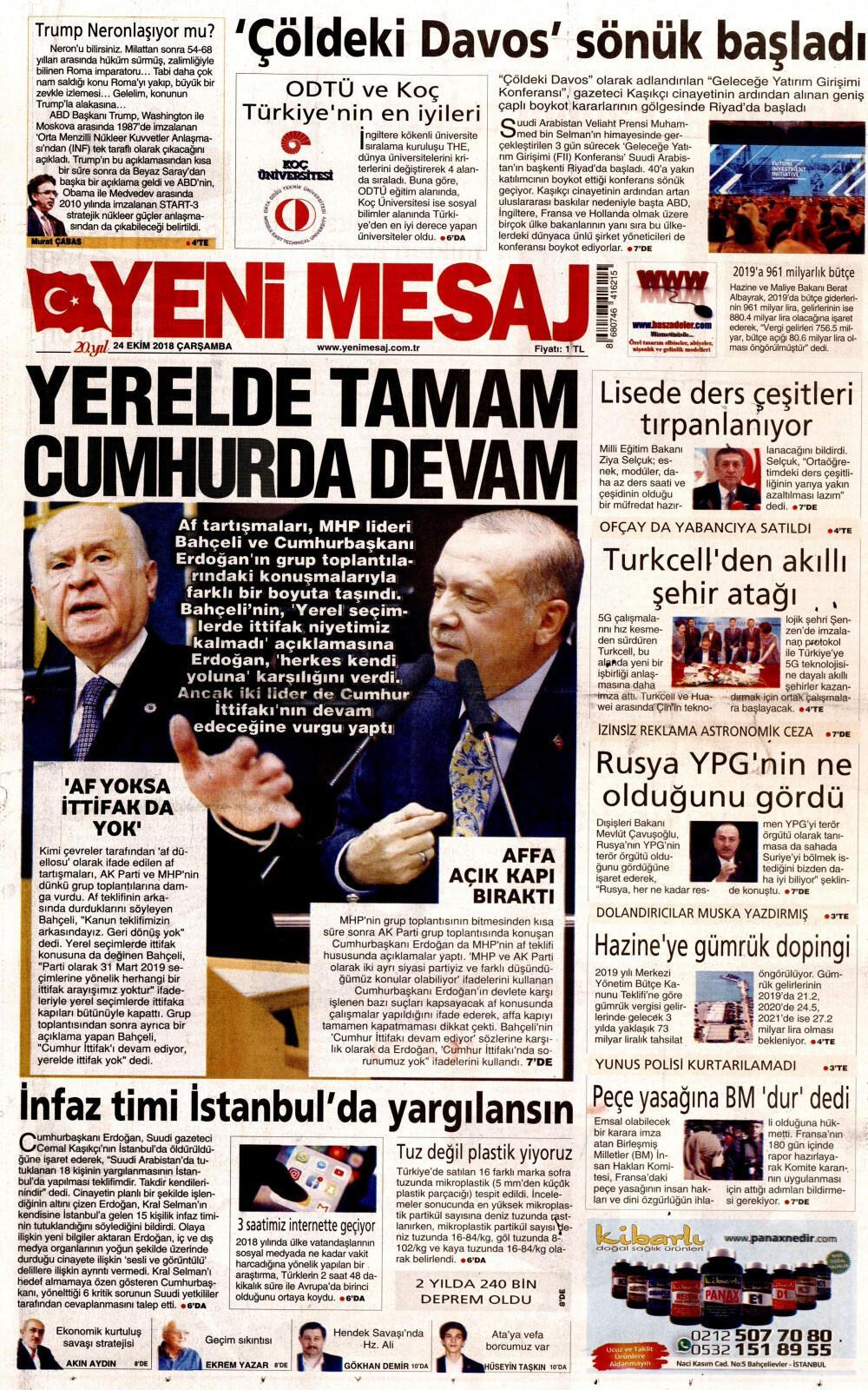24 Ekim 2018 Gazete Manşetleri