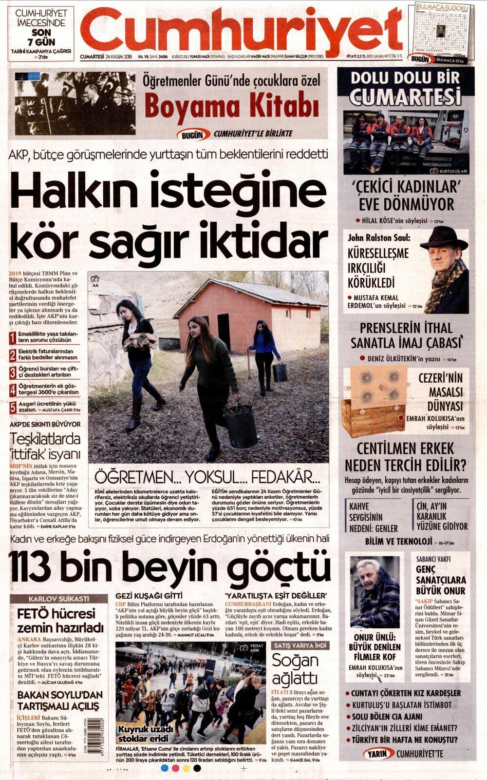 24 Kasım 2018 Gazete Manşetleri
