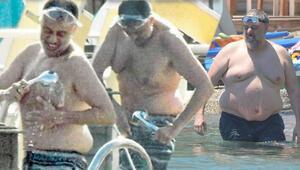 Hamdi Alkan ameliyattan sonra ilk kez denize girerken görüntülendi