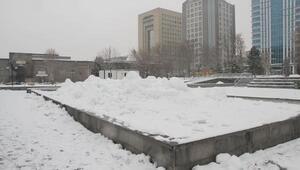 Soğuk hava, süs havuzlarını dondurdu