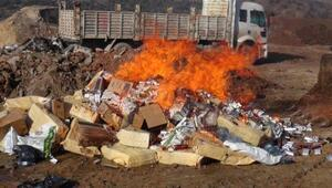 Kaçak sigara ve rakılar yakılarak imha edildi