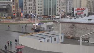 Taksim Camii alanında şantiye hazırlıklarına başlandı