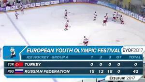 Buz hokeyinde ağır mağlubiyet: Türkiye-0: Rusya-42