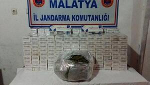 Malatya'da 7 bin 300 paket kaçak sigara ve 348 gram esrar ele geçti