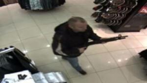 Av tüfeği ile mağaza baskını güvenlik kamerasında