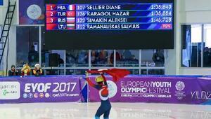 Avrupa Gençlik Olimpik Kış Festivali'nde Hazar 2 saliseyle sürat pateninde 2nci