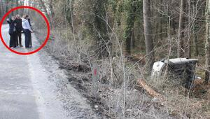 Yol kenarındaki çamur şarampole uçurdu