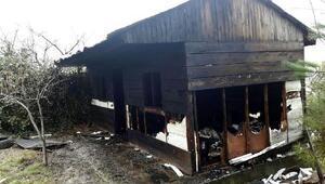 Deprem sonrası yapılan baraka yandı