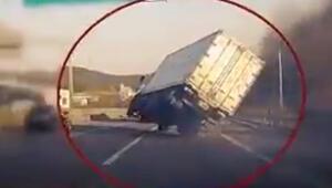 Usta şoför büyük bir kazayı böyle engelledi