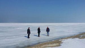 Van Gölü aşırı soğuklarda dondu