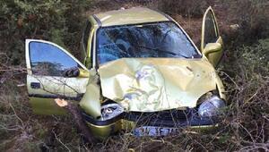 Ağaca çarpan otomobilde sürücü ve eşi yaralandı
