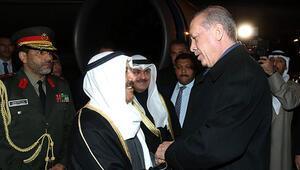 Kuveyt Emiri el Sabah Ankaraya geldi: Cumhurbaşkanı Erdoğan, havalimanında karşıladı