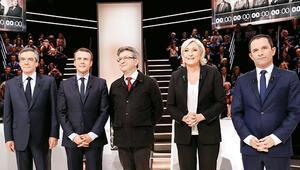 Fransa'da beş aday televizyonda kapıştı