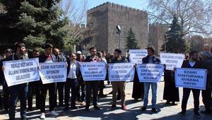 Kayseride SPlilerden İsrail'e ezan yasağı protestosu