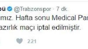 Trabzonspor'un Samsunspor ile oynayacağı hazırlık maçı iptal edildi