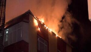 Güngörende korkutan çatı yangını
