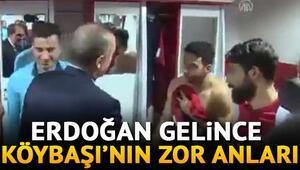Cumhurbaşkanı Erdoğan soyunma odasına indi
