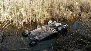 Kanala uçan otomobilin alkollü sürücüsü ağır yaralandı