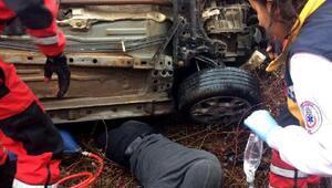 Kazada araç altında sıkışan sürücü 9 saat sonra kurtarıldı