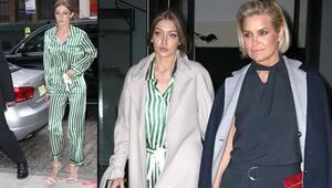 Gigi çizgili pijamayla sokakta