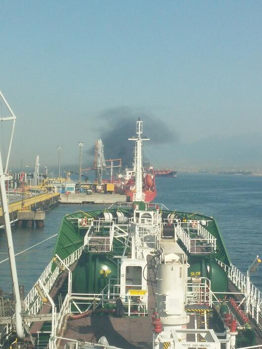 Kocaeli Körfezinde LPG yüklü tanker alev alev yanıyor