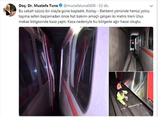 Ankara metrosunda kaza... Seferler yapılamıyor