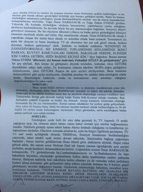 Genelkurmay Başkanı Hulusi Akarın ifadesi