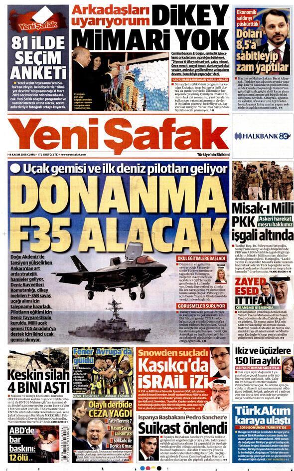 Yeni şafak Gazetesi Kasım 2018 Manşetleri