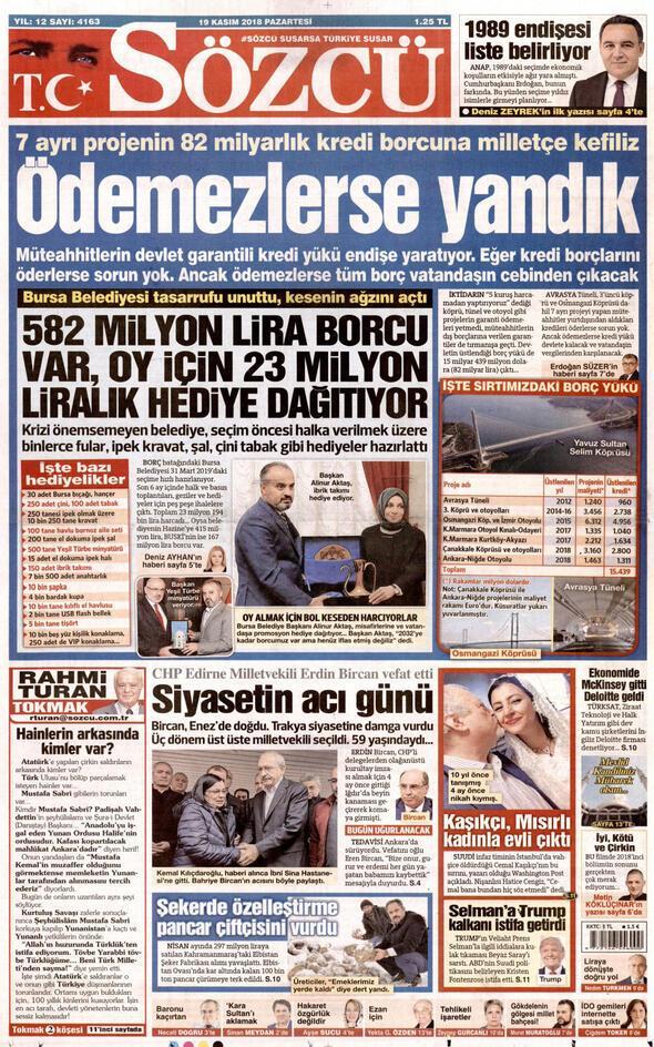 Sözcü Gazetesi Kasım 2018 Manşetleri