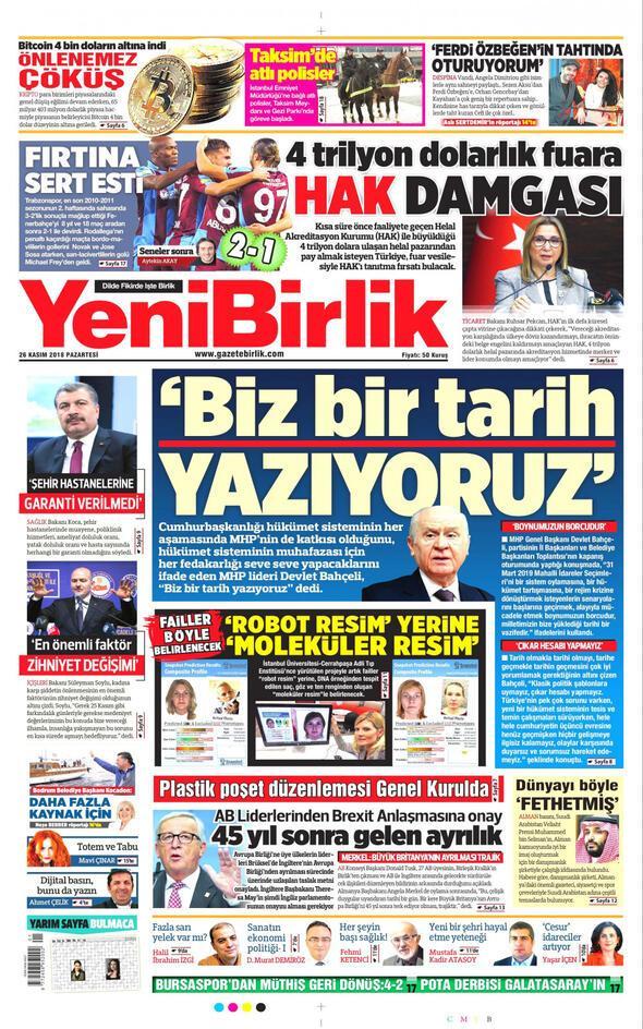 Yenibirlik Gazetesi Kasım 2018 Manşetleri